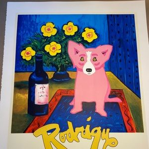"""George Rodrigue """"Pink Dog"""" Lithograph"""